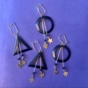 2pairs Hearts stars vintage earrings